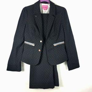 Phoebe Womens 2 Piece Suit Sz 8 Blazer  Polka Dot